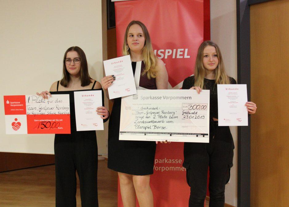 """2. Platz für die Sparkasse Vorpommern im Landeswettbewerb des  """"Planspiel Börse 2018"""""""