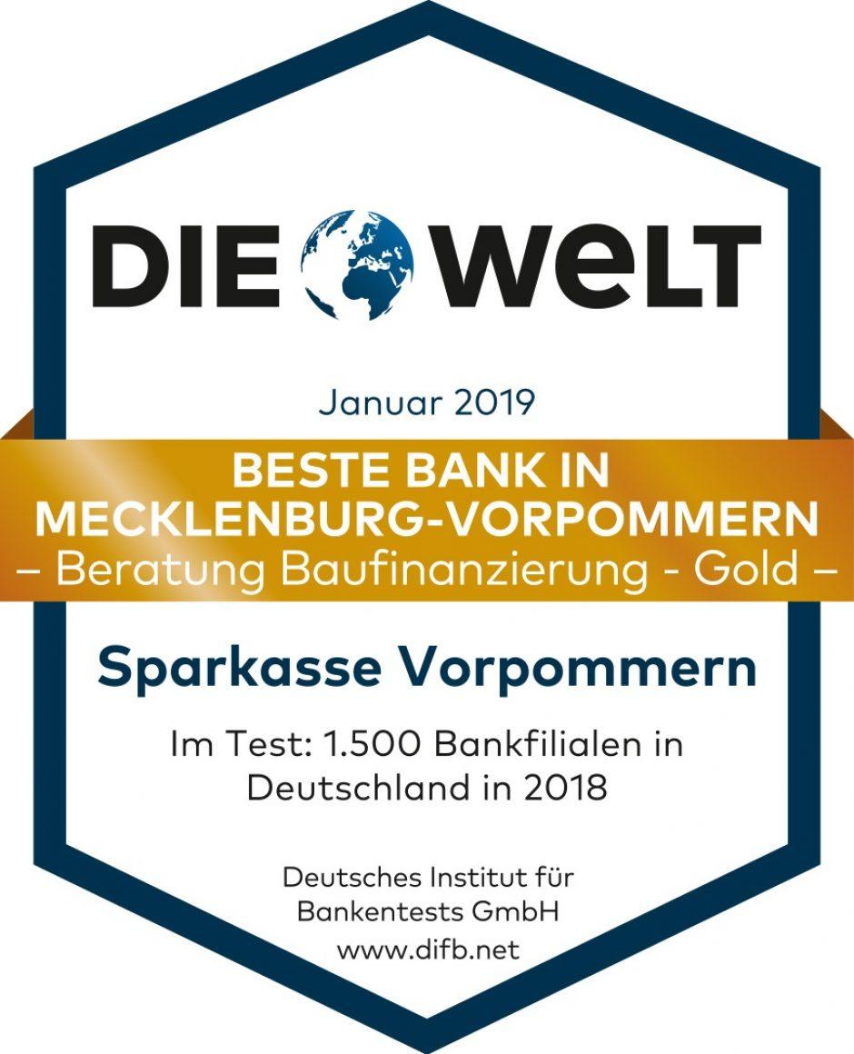 """Sparkasse Vorpommern mit """"DIE WELT""""- Qualitätssiegel """"Beste Bank in Mecklenburg-Vorpommern Beratung Baufinanzierung Gold"""" ausgezeichnet"""