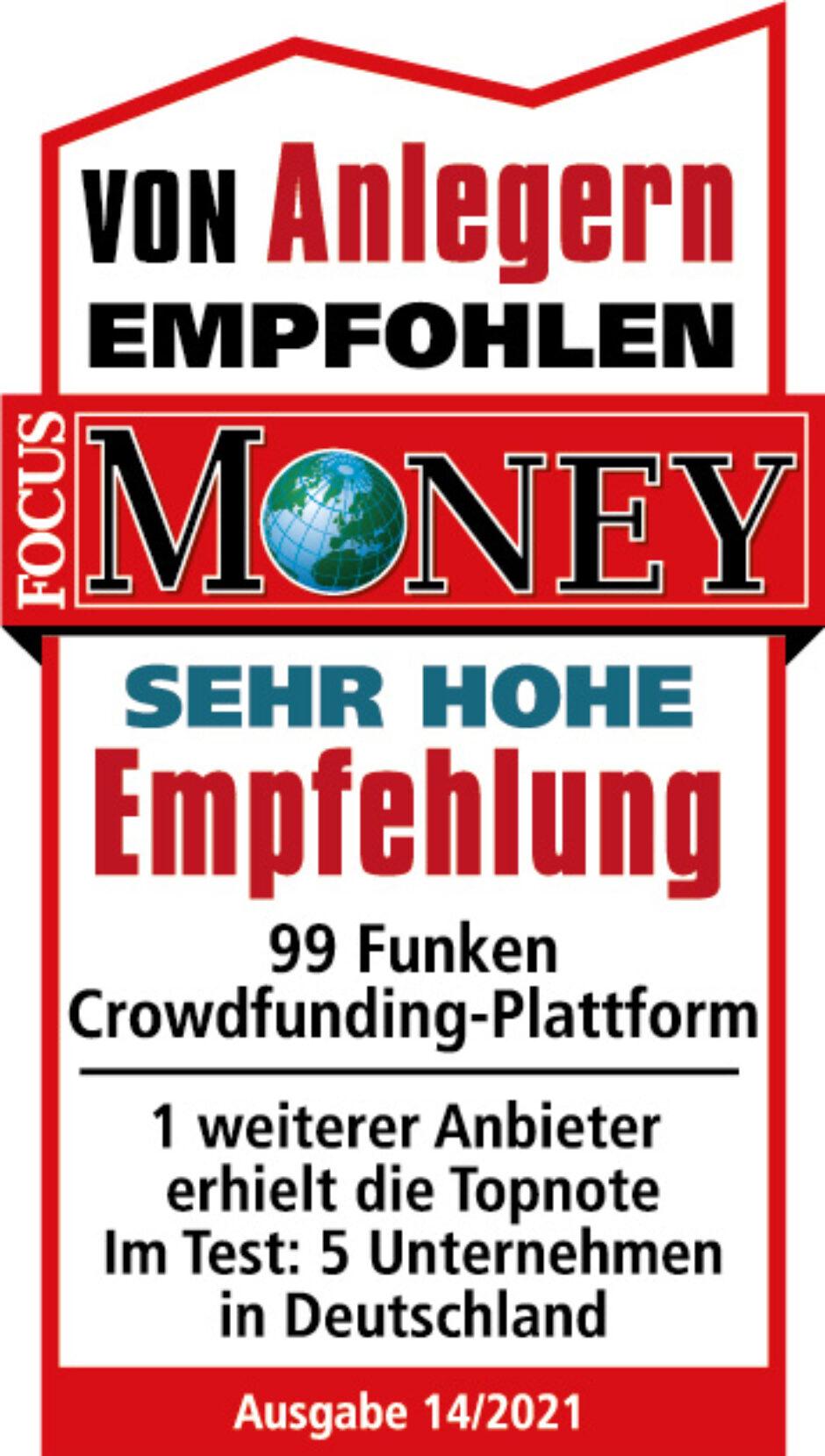 """""""99 Funken"""" erhält von FOCUS-MONEY """"Sehr hohe Empfehlung"""""""